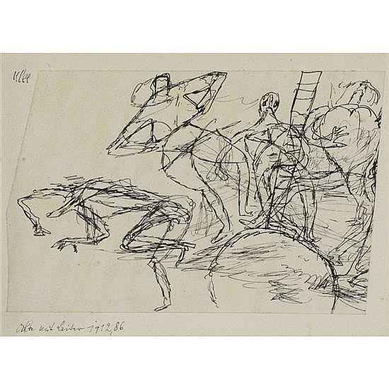 Paul Klee (1879-1940)Nu avec échelle, 1912Plume sur papier marouflé sur cartonSigné en haut à gauche, titré et daté en bas àgauche8,...