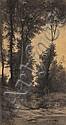 Auguste ALLONGE(1833-1898) Sous-bois et rivière