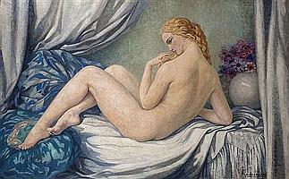 Gabriel MOISELET (1885-1961) La Femme aux coussins Huile sur toile Signée en bas à droite et datée « 1930 » 125 x 198 cm (pièce au d...