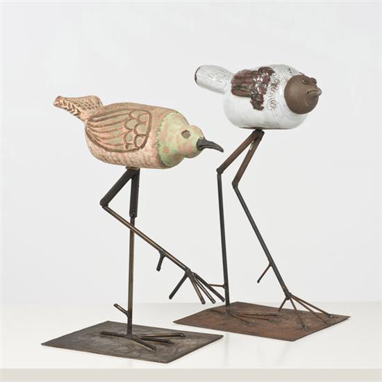 Albert Thiry (1932-2009) Deux oiseaux fantastiques Céramique émaillée et métal Signés et cachet Vallauris Date de création :...