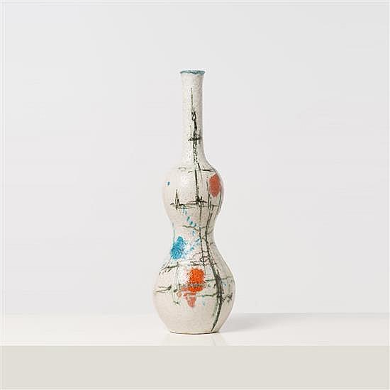 Andrea D'Arienzo (1911-1995) Vase double gourde Céramique émaillée Signé H 50 × Ø 18 cm