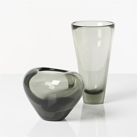 Per Lütken (1916–1998) Deux vases Verre Édition Holmegaard Signés H 13,5 cm ; H 20 cm