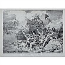 Horace VERNET PRISE D'UNE REDOUTE PAR LES GRENADIERS FRANÇAIS. 1818. Lithographie. 355 x 499. Beraldi 41. Très belle épreuve. Rousse..
