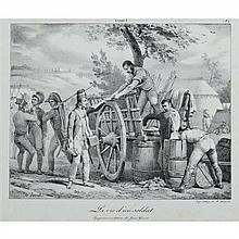 Horace VERNET LA VIE D'UN SOLDAT (pl. 1, 3, 4 et 5). Vers 1820. Lithographie. Format des feuillets : 325 x 480 (env). Beraldi 89, 91..