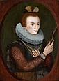 CT - École FRANÇAISE  vers 1580, suiveur de  François QUESNEL Dame au miroir dans un ovale peint Panneau de chêne, une planc...