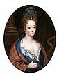 CT École HOLLANDAISE du XVIIIe siècle, suiveur de Constantin NETSCHER Portrait de femme à l'étole bleu et rouge  Toile ovale m...