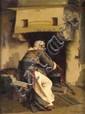 Apostolos GERALIS Femme devant l'âtre