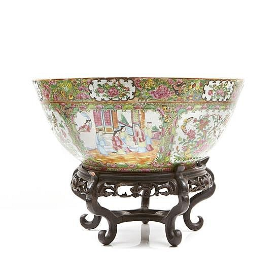 Chine canton xixe si cle grande vasque en porcelaine d co - Vasque ancienne en porcelaine ...