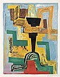Ossip Zadkine (1890-1967) Dieu noir. 1962. Lithographie. 423 x 565. Czwiklitzer 123. Impression en couleurs. Très belle épreuve sur vél