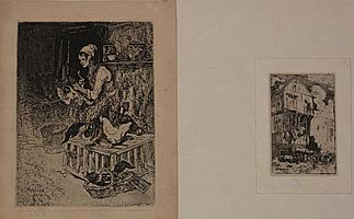 Adolphe Hervier (1818-1879) Paysage avec un moulin ; Paysanne debout, se soulageant ; Maison normande ; Les Barques de pêche ; Femme...