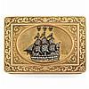 Boite tabatière de forme rectangulaire en or jaune 18k750‰ à décor gravé de rinceaux