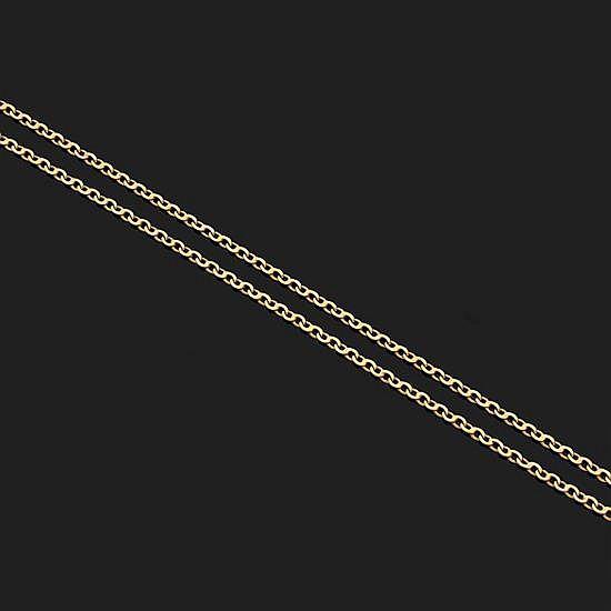 Chaîne en or jaune 18k, 750‰ à maillons forçat ovales.Longueur : 66 cm