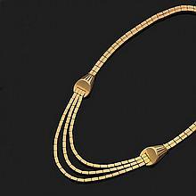 Collier articulé en or jaune 18k, 750‰ à double chaîne maillons