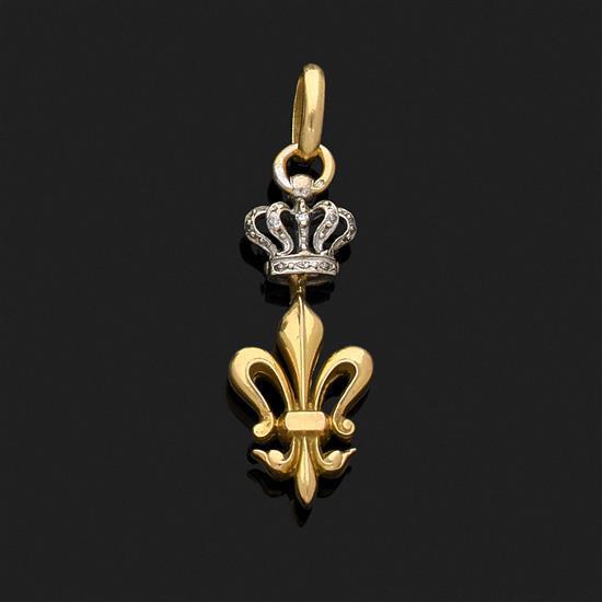 Pendentif articulé figurant une fleur de lys en or jaune 18k, 750‰ surmontée d''une couronne en or gris et rehaussée de diamants tail..