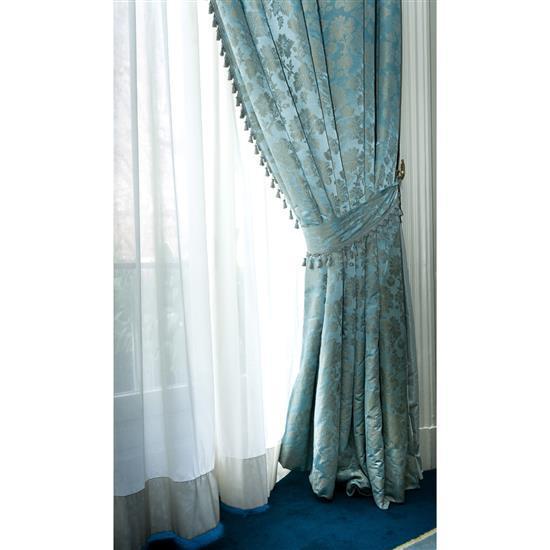 Deux paires de rideaux bleus et gris Lote de 2 parejas de cortinas