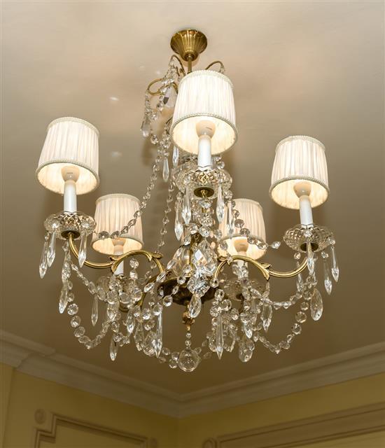 Lustre en cristal à cinq lumières H 50 x D 50 cmLampara de techo cristal 5 luces