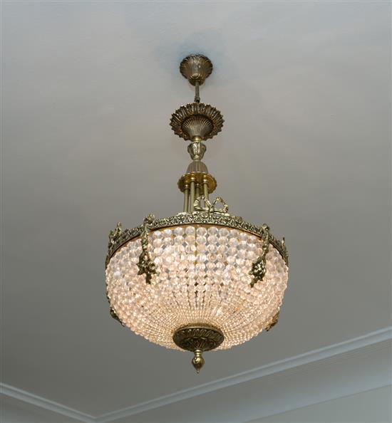Lustre cristal et bronze doréLampara de techo