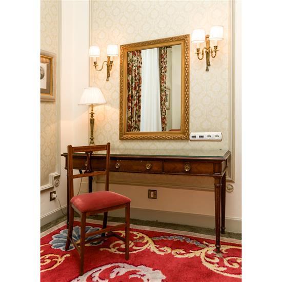 Bureau plat trois tiroirs 75x152x47 cm miroir en bois do - Lampe de bureau bois ...