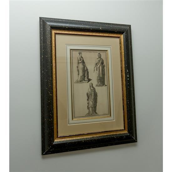 Trois gravures avec des femmes à l''antique, 63x49 cm, deux gravures avec fleurs, 40x40 cm3 grabados Damas y 2 grabados triunfos flores