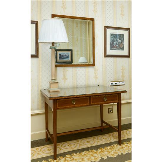 bureau 70x100x60 cm miroir en bois marquet 76x78 cm et une. Black Bedroom Furniture Sets. Home Design Ideas