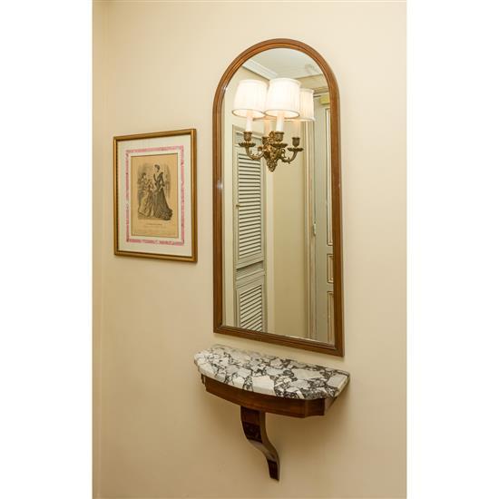Console dessus marbre, 43x52x25 cm, miroir avec lumières incorporées, 110x50 cmConsola de colgar con espejo y aplique