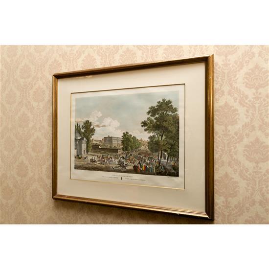 Deux estampes: Escrimeurs, 47x65 cm, Vue de Madrid, 52x63 cmGrabado espadachines y grabado vista de la Florida