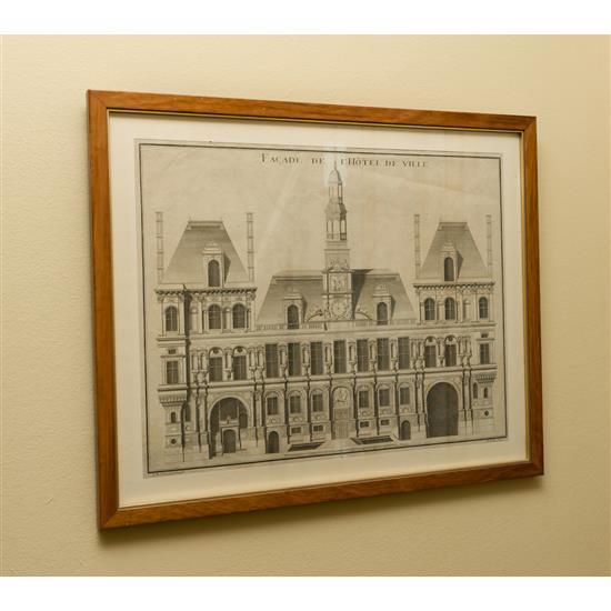 Gravure représentant l''Hôtel de ville de Paris, 42x53 cmGrabado Ayuntamiento de Paris