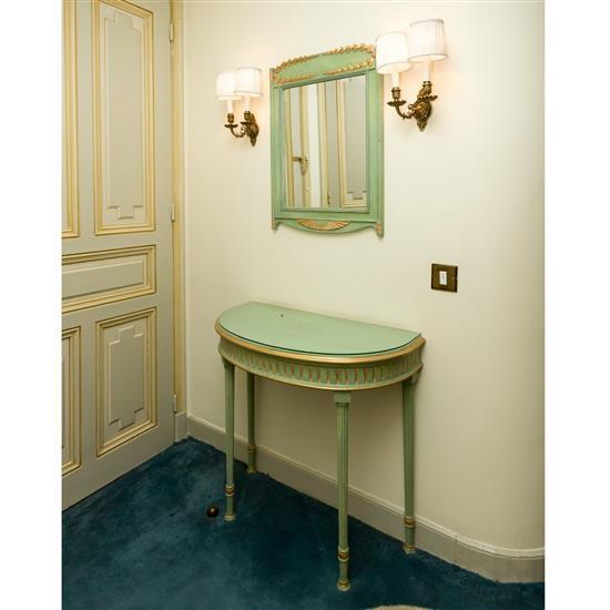 Console, 56x84x40 cm, miroir, 74x54 cmConsola con espejo verde