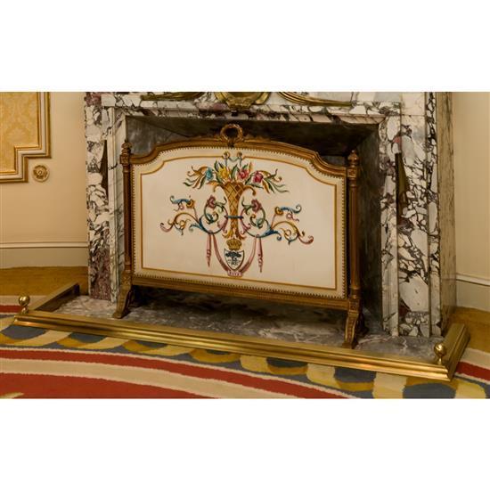 Ecran de cheminée 70x89 cm et galerieParaban y galeria metal