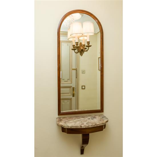 Console dessus marbre, 45x53x26 cm, miroir avec lumières incorporées, 110x50 cmConsola de colgar con espejo y aplique