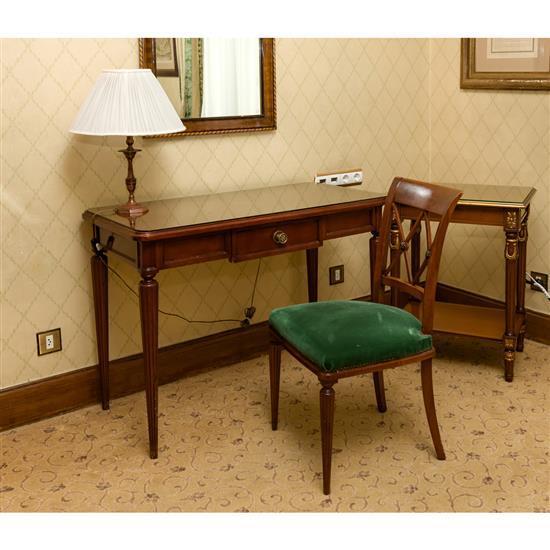 Bureau plat 78 x110x55 cm miroir en bois 83x63 cm lampe h 50 cm chaise 88x48x45 cm petite table rectangulaire 75x60x45 cm Mesa escri...