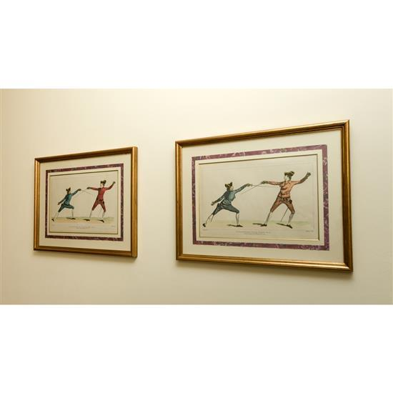 Cinq gravures d''escrimeurs 47x63 cmLote de 5 grabados espadachines