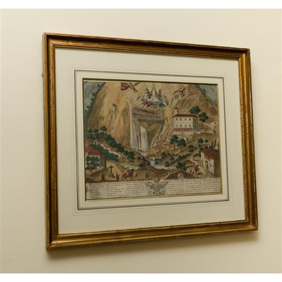 Estampe Vue d''un monastère, 53x60 cmGrabado Monasterio Virgen de Covadonga