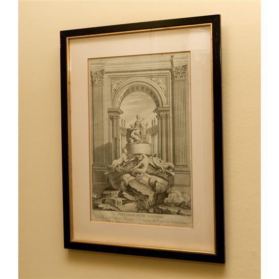 Gravure, Elevation d''une Fontaine, 45x35 cmGrabado Elevación de una Fuente