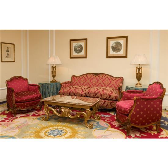 Canapé de style Louis XV 86x156x65 cm et deux fauteuils de style Louis XV 80 x 70 x 60 cm Sofá, pareja de sillones