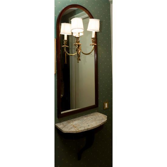 Console avec dessus marbre 45x52x26 cm et miroir avec lumière incorporée 109x50x18 cm Consola con espejo y aplique
