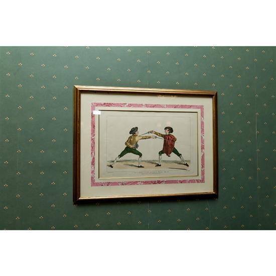 Deux estampes, Escrimeurs 48x63 cmPareja de grabados de esgrima