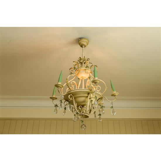 Lustre en métal, H 84 X D 60 cm et neuf appliques 1 lampara de techo en metal pintado y lote de 9 apliques (6 de dos y 3 tres luces)