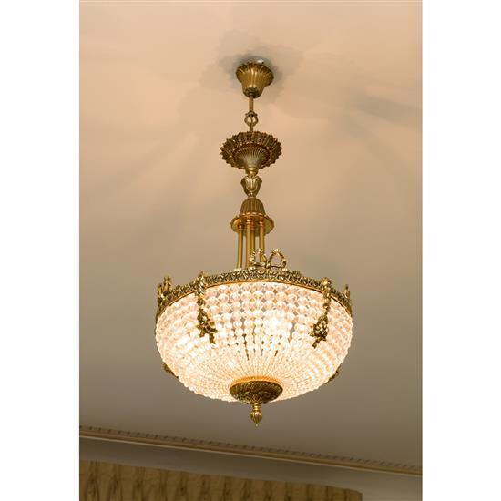 Lustre en cristalLampara de techo en bronce y cristal