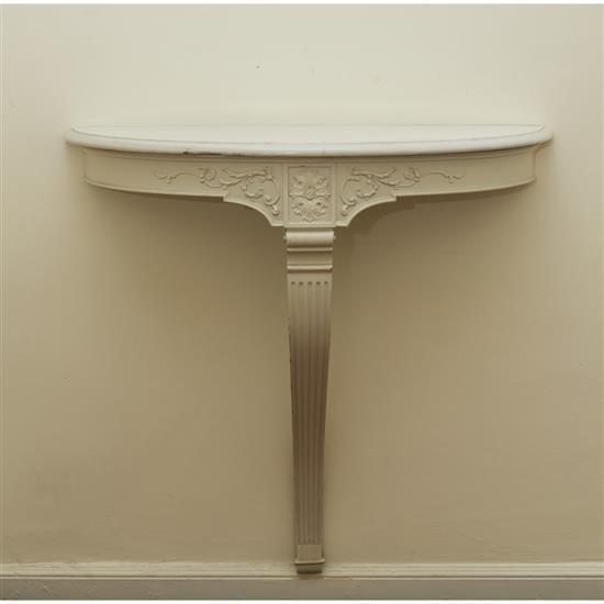 Console en bois laqué blanc et dessus de marbreConsola blanca con tapa de marmol