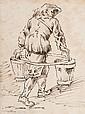 École bolonaise du XVIIe siècle  Porteur d'eau Plume et encre brune  20,5 x 15,2 cm (Taches)