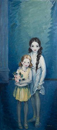 Ludovic Lucien MADRASSI (1881-1956) Les Deux soeurs Huile sur toile Signée en bas à droite 174 x 78 cm