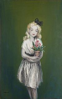 Ludovic Lucien MADRASSI (1881-1956) Fillette au pot de fleurs Huile sur toile Signée en bas à gauche 117 x 73,5 cm