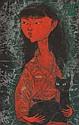 Naondo NAKAMURA (1905-1981) Fillette au chat Gouache Signé en français et en japonais et daté « 1959 » en haut à droite ..., Naondo Nakamura, Click for value
