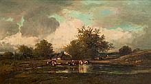 Léon Victor DUPRE (1816-1879) Troupeau de vaches près d'une mare