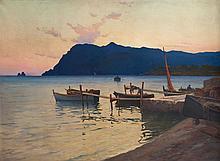 Eugène DAUPHIN (1857-1930) Coucher de soleil sur le cap Sicié, circa 1890