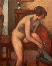 Georges d'ESPAGNAT (1870-1950) Modèle nu aux bas