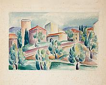 René PARESCE (1886-1937) Arbres et maisons, XXIII