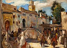 Paul HANNAUX (1897-1954) Promeneurs devant la Mosquée de Fès