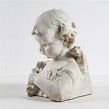 """Jean Dampt (1854-1945) Jeune fille aux fleurs de pommier Buste en marbre blanc cristallin Signé """" J"""
